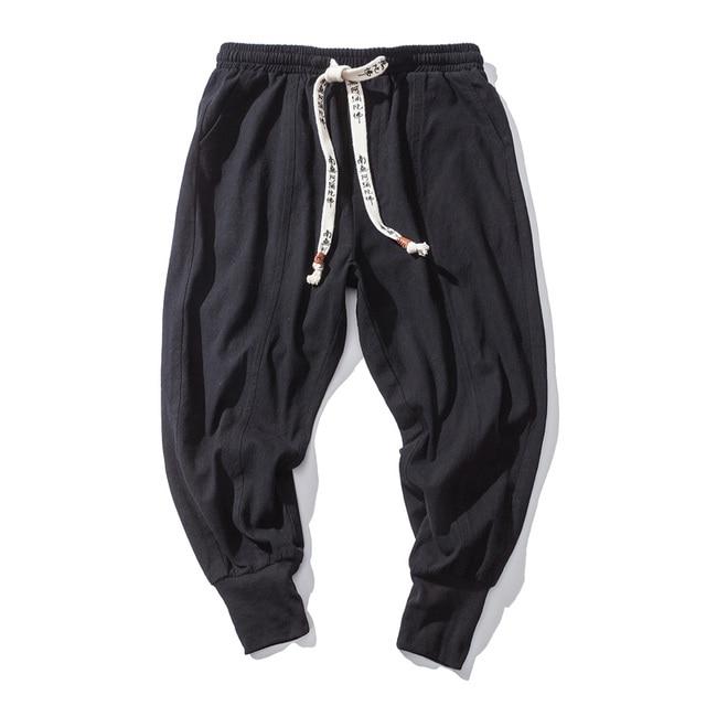 Cotton Harem Pants Men Solid Elastic Waist Streetwear Joggers 2020 New Baggy Drop-crotch Pants Casual Trousers Men Dropshipping 5