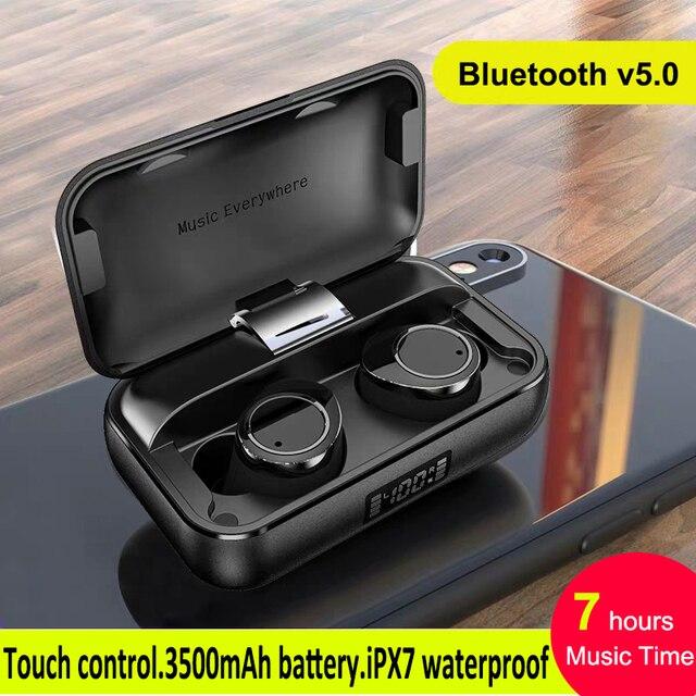 TWS X13 블루투스 5.0 헤드폰 소음 제거 마이크 이어폰 3500mAh 진정한 무선 이어 버드 IPX7 방수 터치 헤드셋