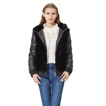 Abrigo de piel de conejo Rex auténtica para mujer, chaqueta con capucha, mangas, abrigo de piel auténtica de bombardero, chaqueta con capucha