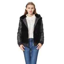 Real Rex Rabbit Fur Coat With Hood Down Coat Jacket Sleeves fur bomber jacket Real Fur Jacket Hooded with down fur coat women