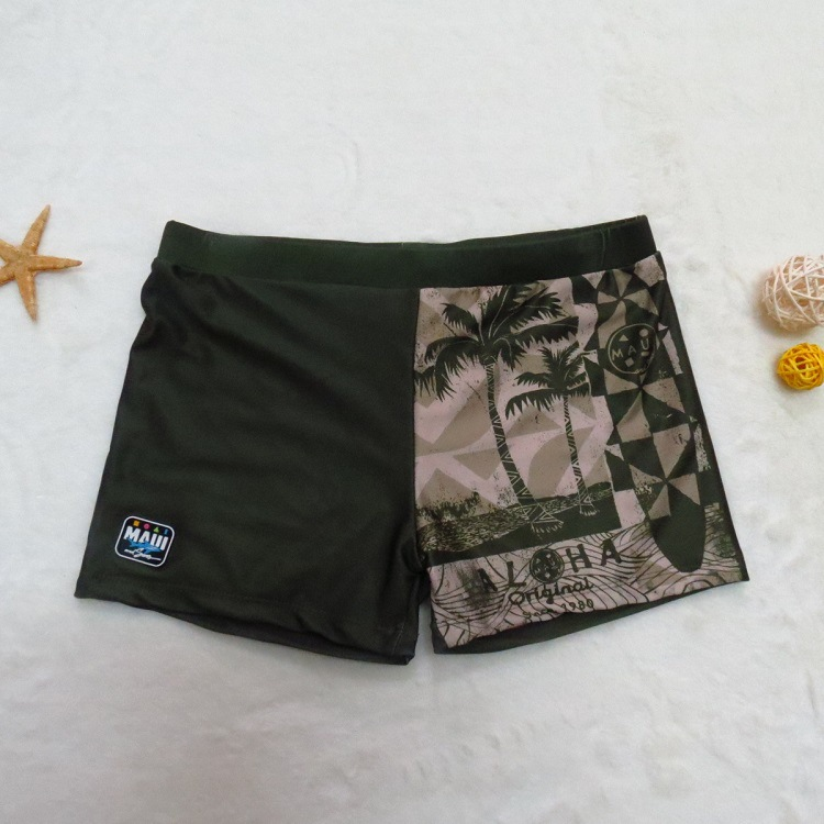 Foreign Trade Brand Big Brand Children Swimming Trunks Palm Printed Army Green Digital Printing Big Boy Swimming Trunks BOY'S Cl