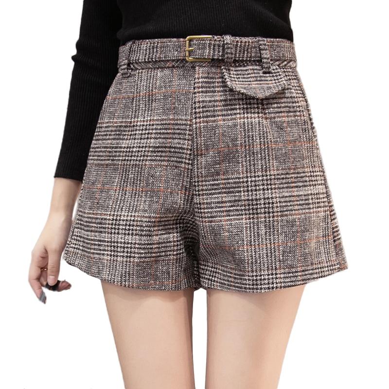 Woolen Plaid Shorts Women Autumn Winter Outerwear Wide Leg High Waist Short Mujer Office Work Wear Ladies Shorts Woman Shorts