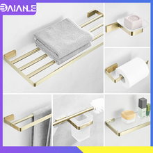 Towel Holder Brushed Gold Towel Bar Sets Stainless Steel Towel Rack Hanging Holder Toilet Paper Holder Coat Hook Bathroom Shelf stainless steel towel bar sets brushed gold towel holder towel rack hanging holder toilet paper holder coat hook bathroom shelf