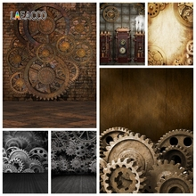 Old Brick Wall Wooden Floor Steampunk House Rusty Gears Photography Backdrops Backgrounds Vintage Grunge Portrait Photophone