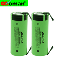 100% Original New Battery For 26650A 3.7V 5000mAh High Capacity 26650 Li-ion Rechargeable Batteries +DIY Nickel sheets