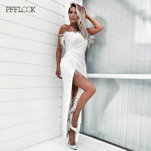 PFFLOOK Summer Elegant Satin Feather Dress Pleate Women Off Shoulder Split Irregular Sexy Party Dresses Midi Long Dress Vestidos 3