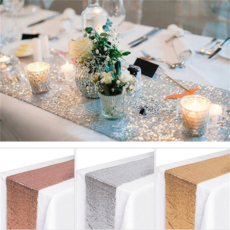 180cm/250cm/275cm stół weselny dekoracji cekinowy bieżnik Party dekoracyjna róża złoto srebro różowy niebieski bieżnik weselny
