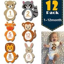 12 pçs mês etiqueta do bebê fotografia marco memorial mensal recém-nascidos crianças número do cartão comemorativo foto acessórios presentes