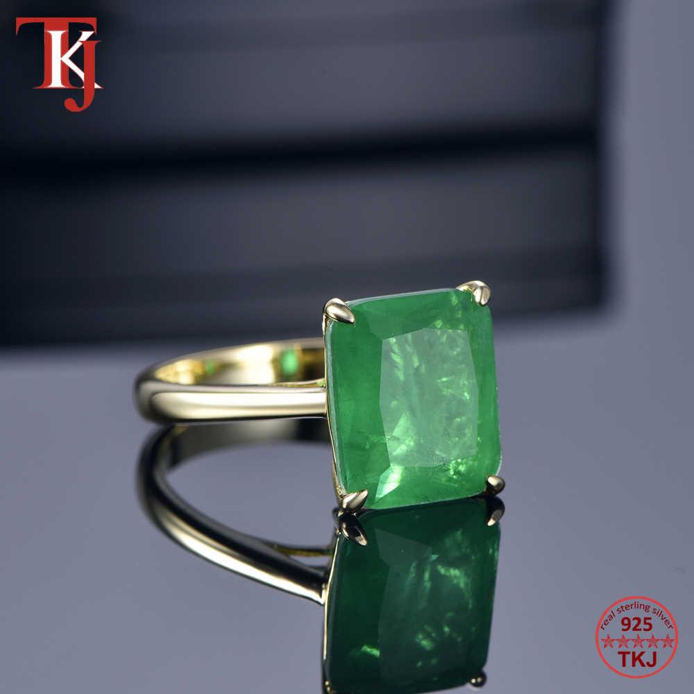 TKJ จริง 925 แหวนแหวนเงินทับทิมและมรกตแหวนงานแต่งงานแหวนหมั้นแหวนสำหรับเครื่องประดับอุปกรณ์เสริมของขวัญ