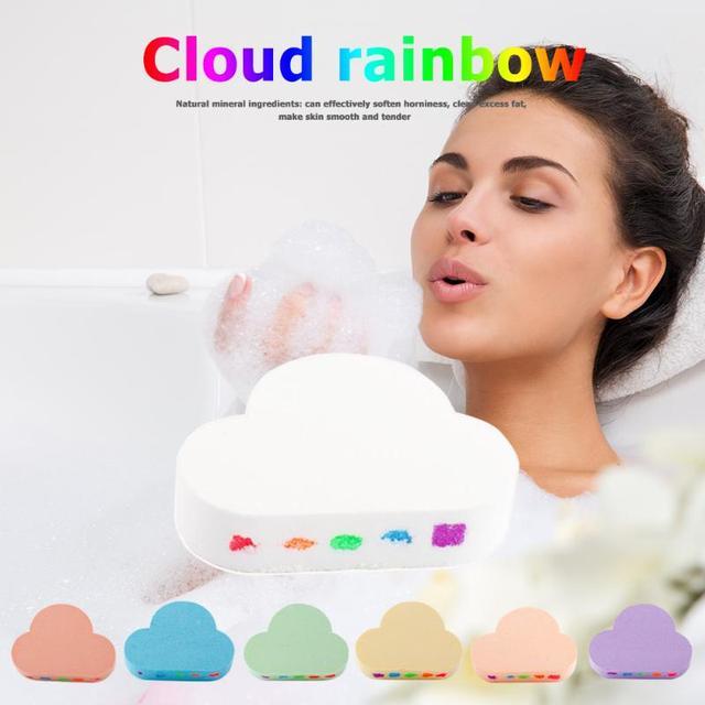 100g Rainbow Cloud Natural Bath Salt Exfoliating Moisturizing Bubble Bomb Ball Essential Oil Bubble Shower Natural Skin Care 1