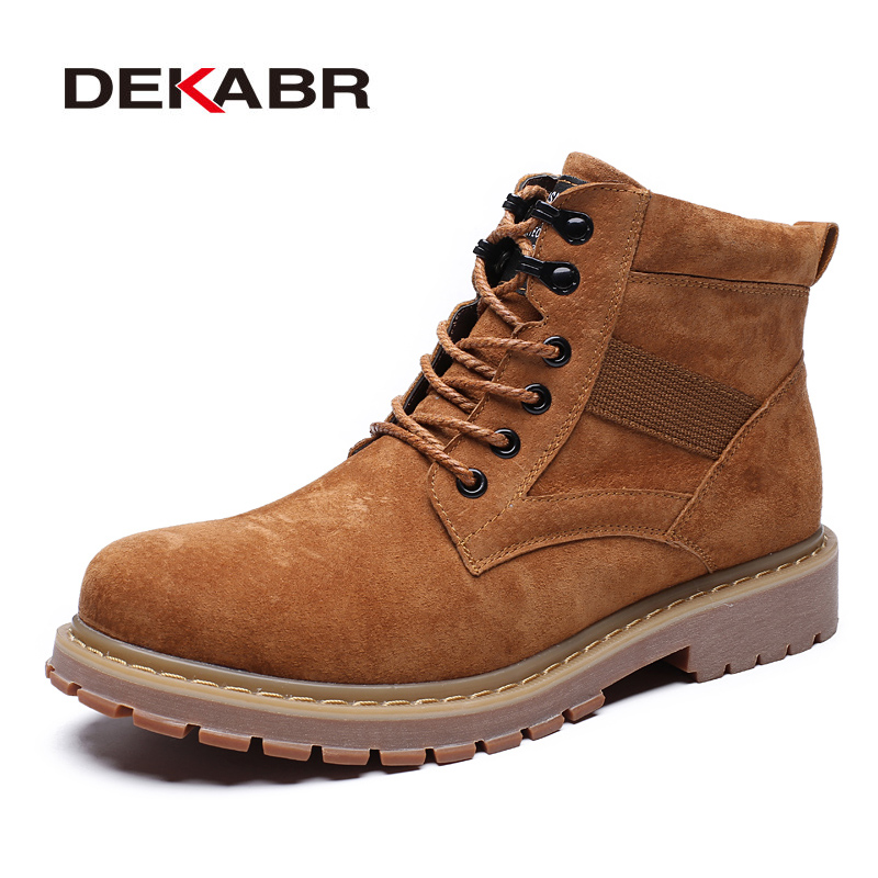 DEKABR New Arrival Lace-Up Cow Suede Men Fashion Boots Wear Resistant Handmade Ankle Boots Working Boots Men Casual Shoes