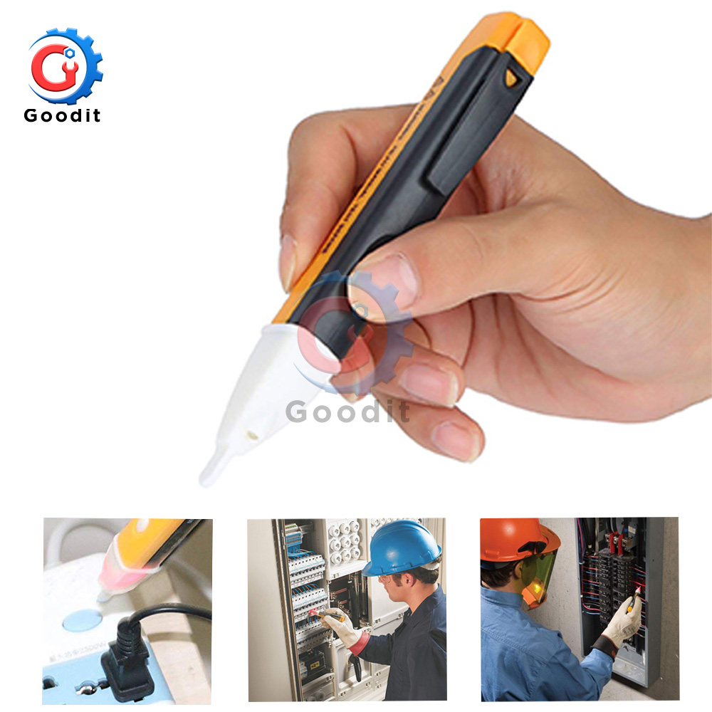 Electric Indicator 90-1000V Non-Contact Socket Wall AC Power Outlet Voltage Detector Sensor Tester Pen LED Light AC 110V-220V