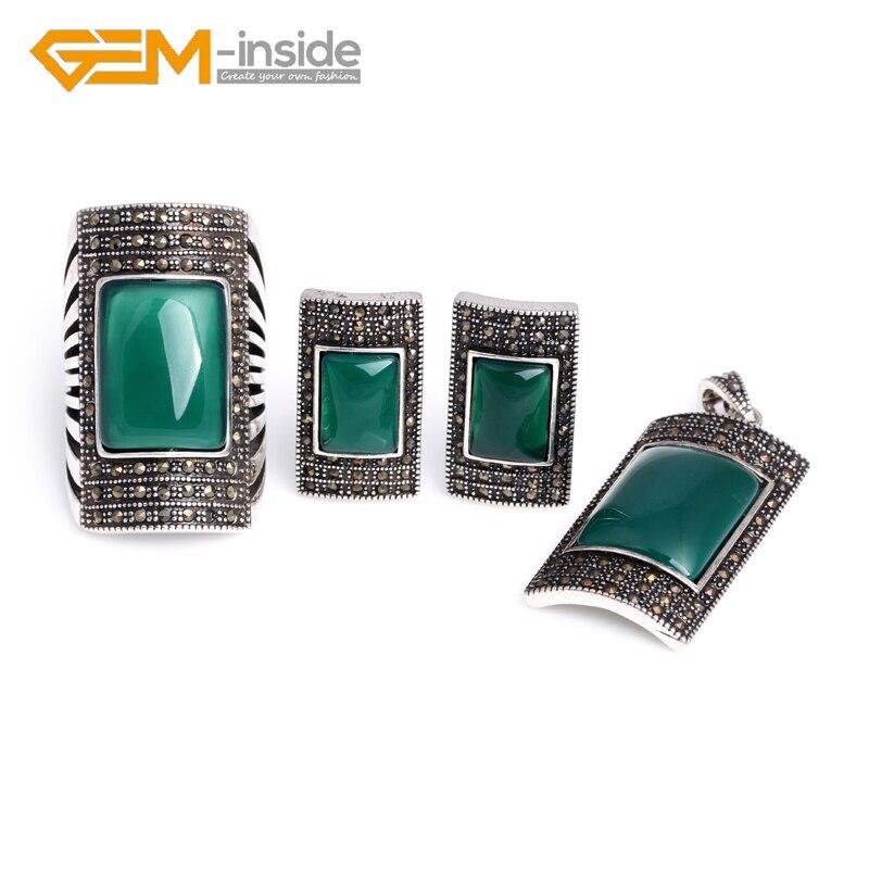 Antique argent bague boucles d'oreilles pendentif bijoux ensembles Rectangle bleu verre vert rouge coquille Agates perles mode bijoux ensemble nouveau