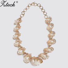 Ztech Shell With Crystal Choker Necklaces For Women Maxi Jewelry Big Za Collar Statement Necklace 2020 Boho Collier Femme big women collier femme necklaces pendant blue red statement bijoux fashion crystal jewelry choker maxi boho vintage jewellry
