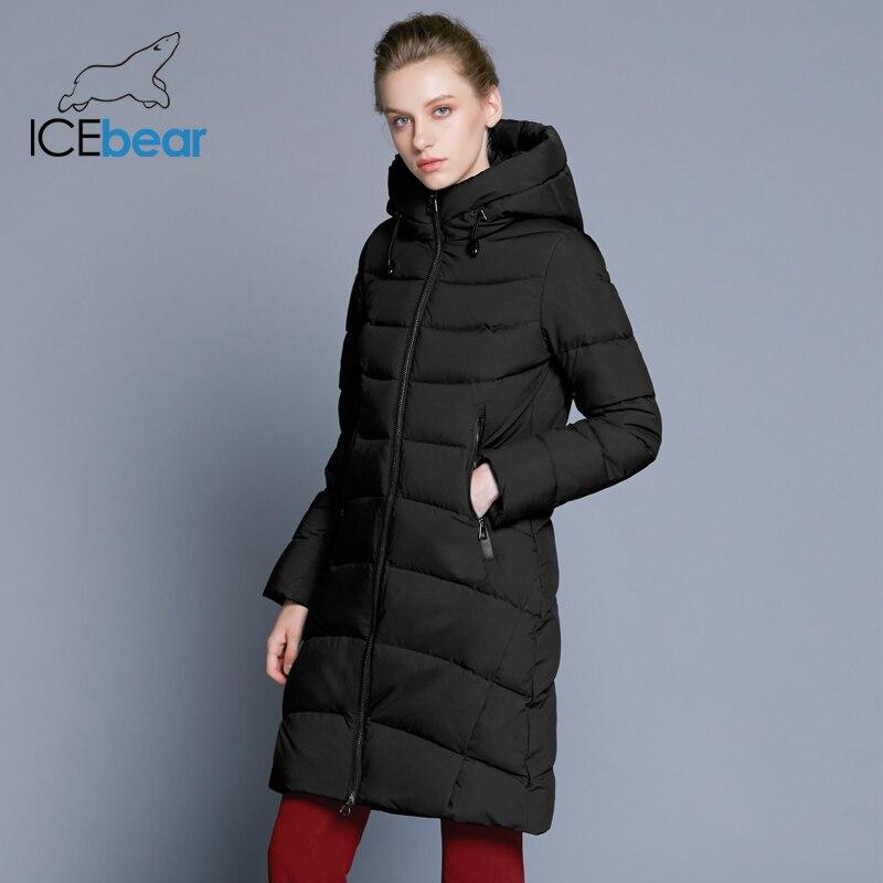 ICEbear 2019 New High Quality Winter Coat Women Hooded Windproof Jacket Long Women's Clothing High-grade Metal Zipper GWD18101D