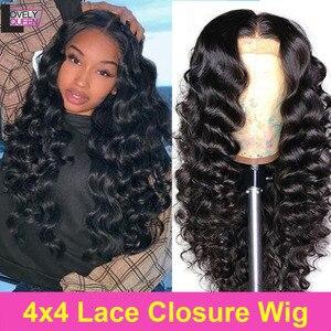 Свободные волнистые парики 4X4, парик на шнуровке, бразильские человеческие волосы Remy, Парики 150 плотности, предварительно выщипанные натура...