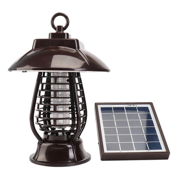 Solar Energy Mosquito Zapper Garden Outdoor Chargeable Anti-mosquito Lamp for Trap Insects - Brown