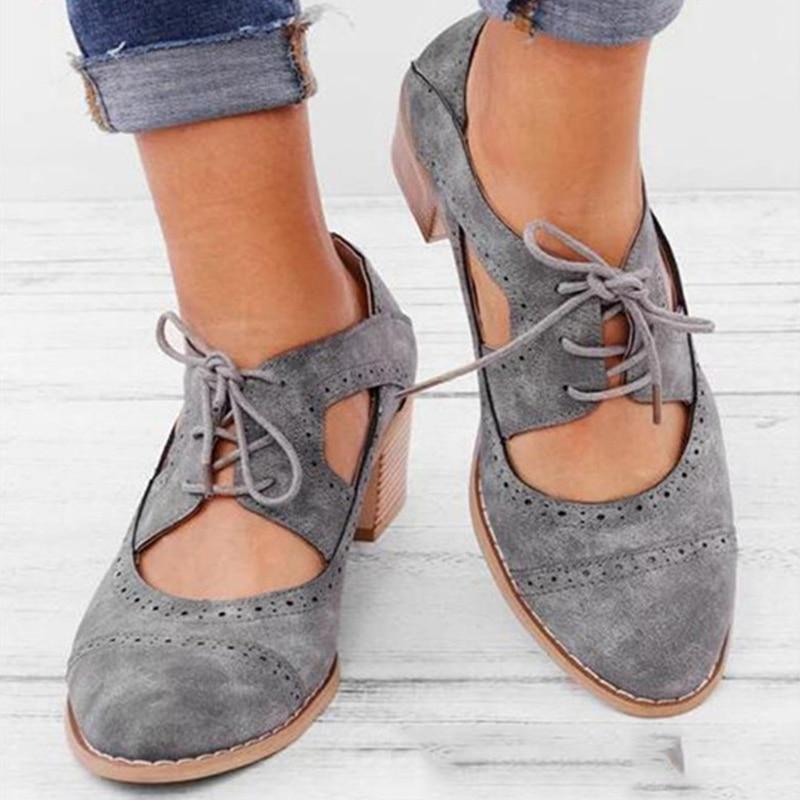 Women's Sandals Women Lace Up Vintage London Hollow Out Shoes Plus Size Mid Heels Ladies Shoes Female Footwear 2020 Summer New
