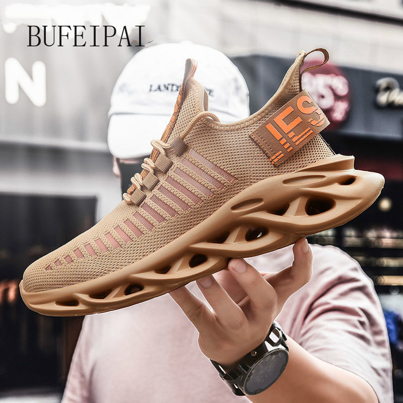 BUFEIPAI Men's Running Shoes Breathable Shockproof Lightweight Men's Blade Sneakers Increase Fitness Walking Shoes Men