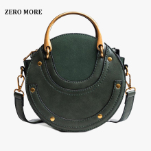ZERO MORE Fashion Round Handbag Women Handbag Rivet Summer Lady Fashion Shoulder Messenger Bag Luxury Designer Leather Women Bag zero halliburton zest navy shoulder bag