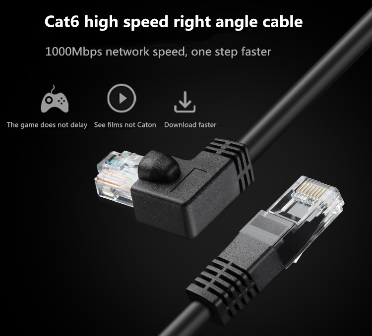 Image 5 - Ethernet Cable CAT6 RJ45 Network Patch Lead Cable Right Angled For PC PS4 Xbox Router Black Golden Plated RJ45 8P8C Cord 1m 1.8m