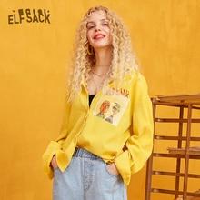 ELFSACK オレンジチェック柄漫画プリントブリットグラフィックスブラウス女性 2019 冬黄色固体手紙刺繍カジュアル女性毎日トップ