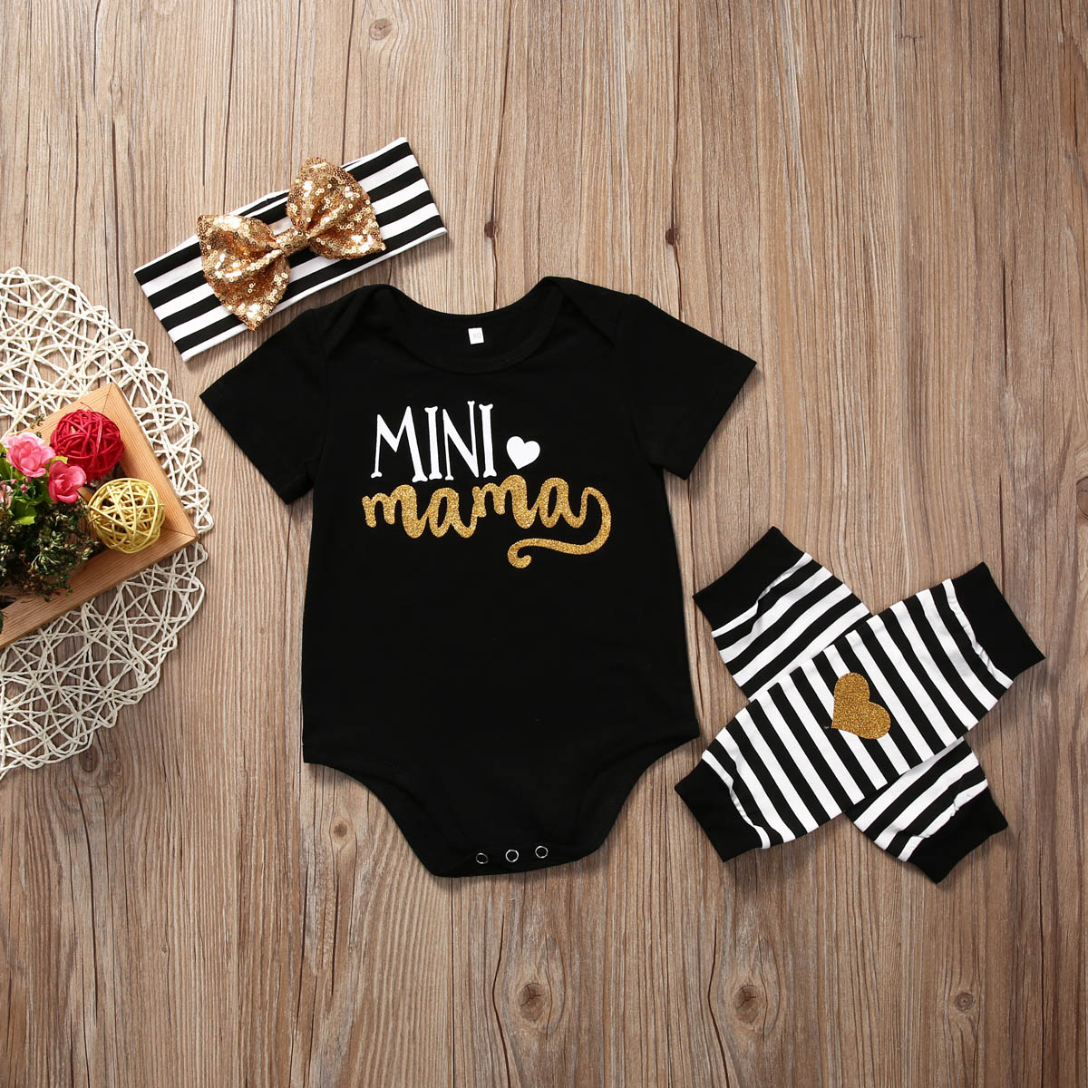 Infant Kids Baby Girl Letters Romper+Leg Warmer+Headband Clothes Outfit Set Suit
