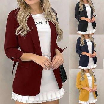 Womens Blazer Slim Fit Lady Long Sleeve Cardigan Suit Office Jacket Coat Outwear