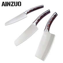 AINZUO 4cr14mov Stainless Steel Knife Butcher Chopper  5 inch 6 7 Chopping Chef Utility Kitchen Cutlery Set