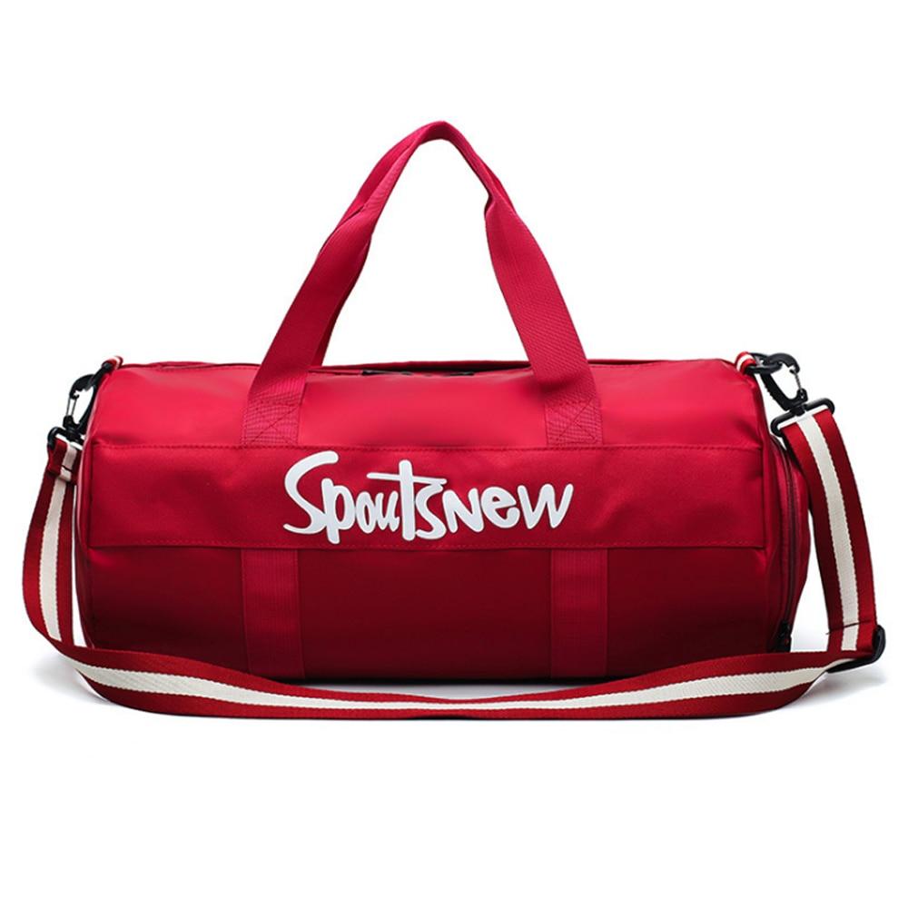 Sports Gym Bag,Mens Travel Duffel Bag Shoulder Cross-Body Portable Training Bag Female Cylinder Yoga Bag Separating Dry and Wet
