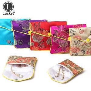 Brocado chinês feito à mão bordado de seda acolchoado zíper pequena jóias presente bolsa de armazenamento caso snap cetim moeda bolsa atacado
