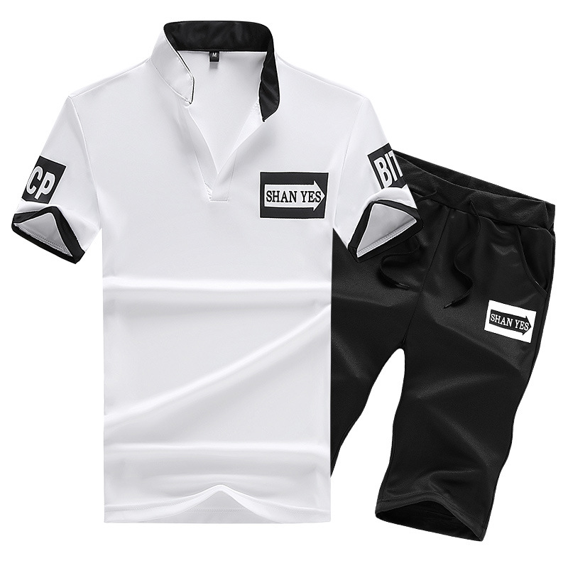 Summer Men Leisure Sports Suit-Style Sweat Absorbing Breathable Short Sleeve T-shirt Shorts Two-Piece Set