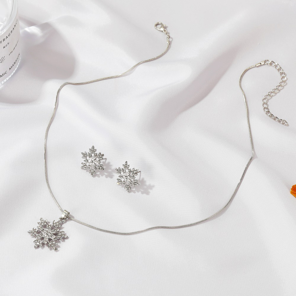 2 Pcs/set Snowflake Necklace Earrings Christmas Luxury Jewelry Accessories Christmas Valentine's Party Gifts 2020 Silver Color