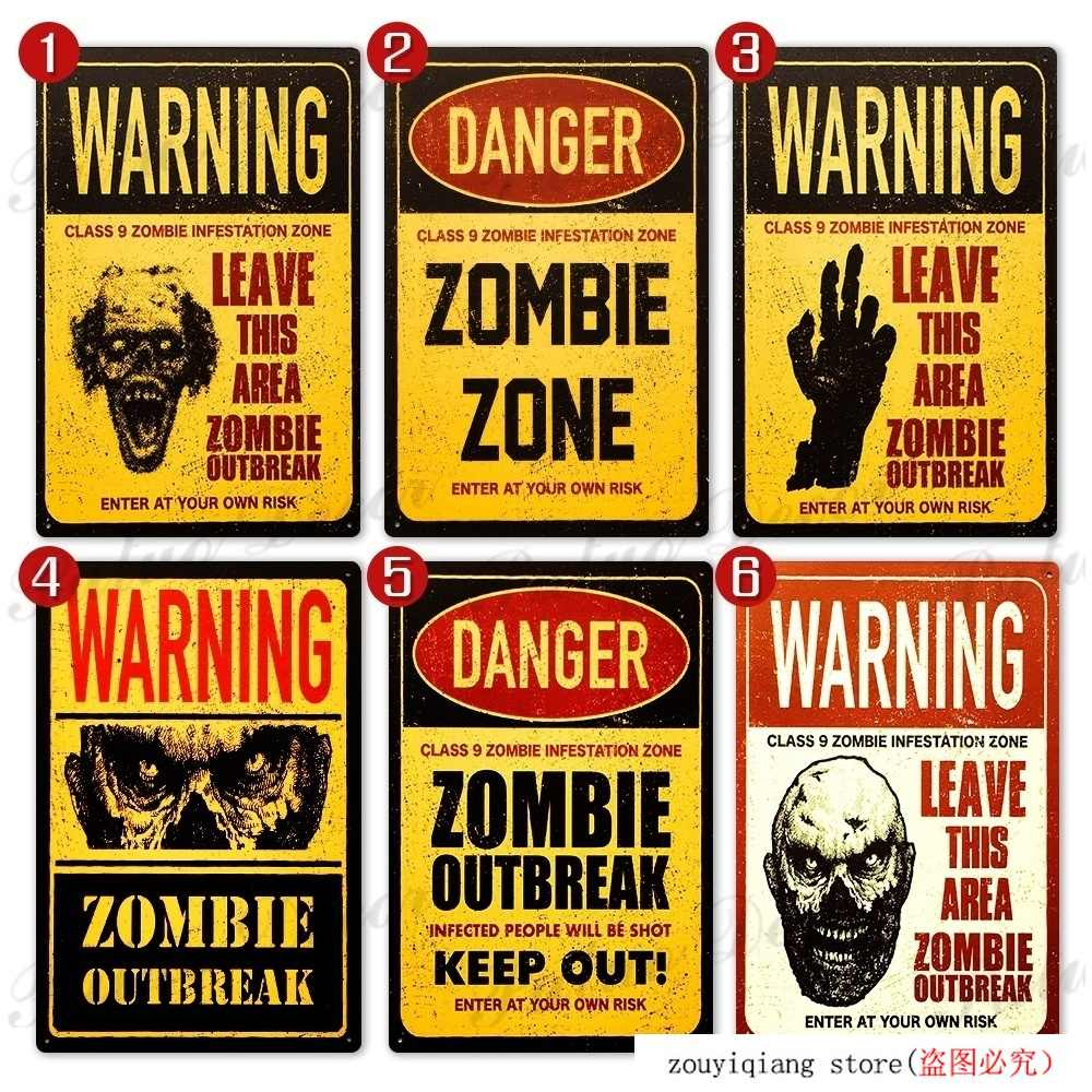 Warning Zombie Zone Tin Signs Metal Signs Posters For Room Door Bar Garage Man Cave Home House Wall Decor Plaques Signs Aliexpress