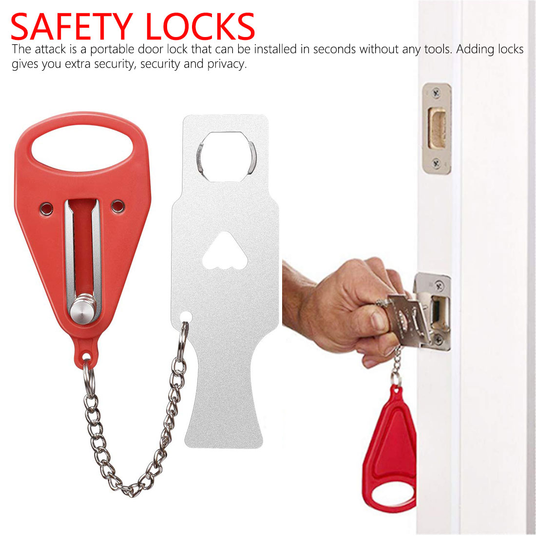 Creative Door Locks For House Doors Portable Selfdefence Anti-theft Compatible Addalock For Traveling Security Door Bolt