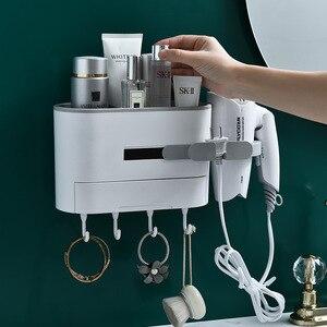 Image 2 - Wall mounted Bathroom Rack Shampoo Cosmetic Shower Rack Hairdryer Storage Rack Space Household Items Bathroom Accessories