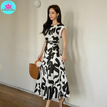 Womens 2019 summer new Korean fashion slim slimming temperament large print dress Knee-Length  O-Neck