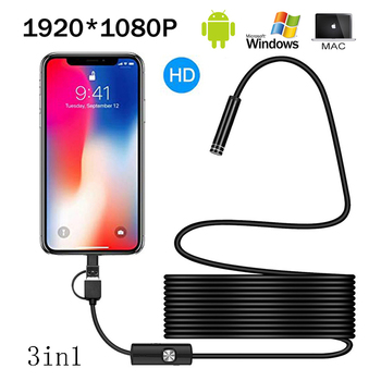 1080P HD Camera USB Android Endoscope Waterproof IP67 Tube Inspection Endoscope Snake Cable 8mm Lens Borescope 8 Leds Light 720p 8mm lens type c usb endoscope borescope tube ip67 waterproof inspection endoscope mini camera for android phone windosw pc