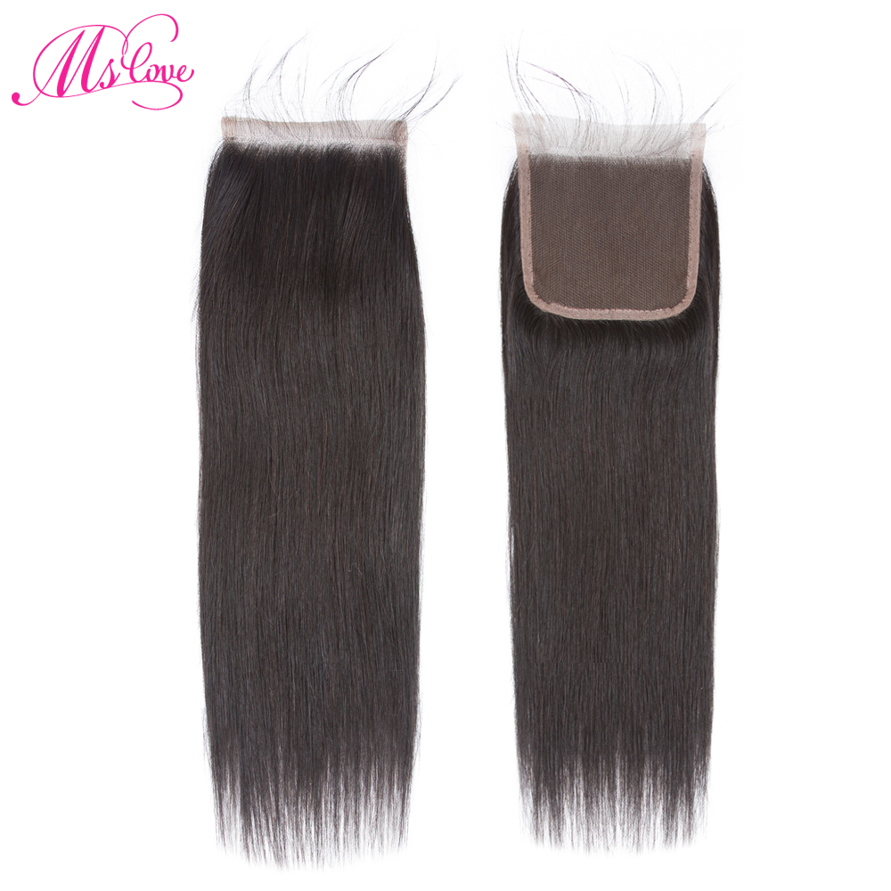 4x4 Lace Closure 100% Human Hair Closure Brazilian Hair Weaving Natural Color Non Remy Straight Frontal Closure Free Part Mslove