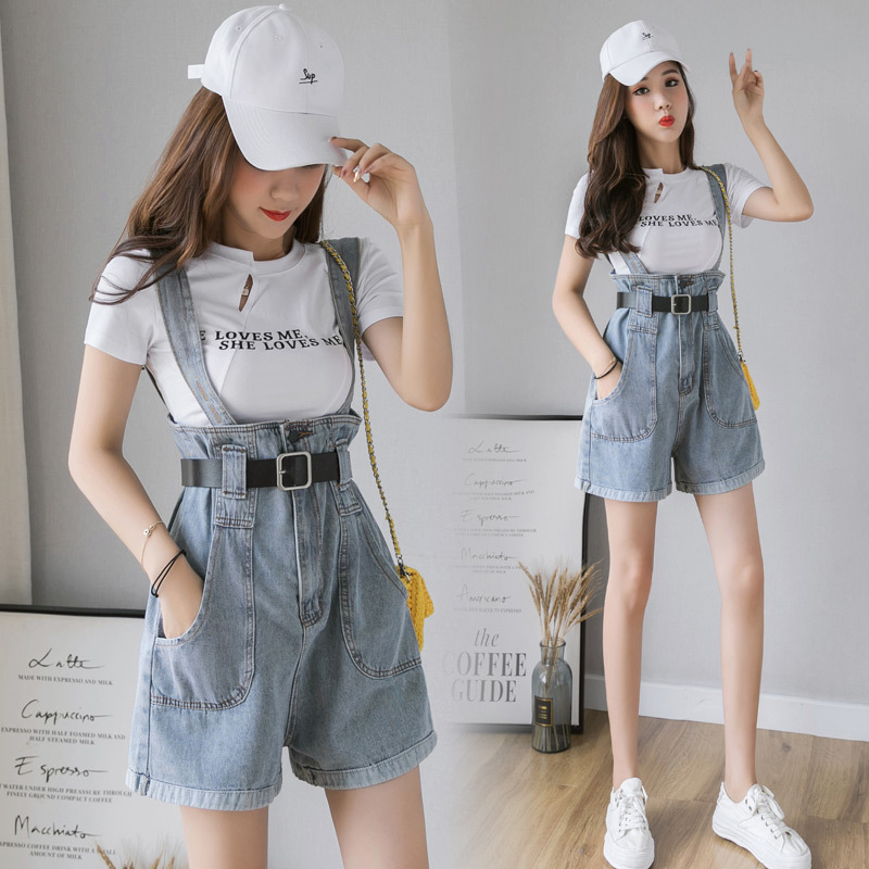 Jeans Pants Women's 2019 New Style High-waisted Slimming Short-height By Age Crimping Loose Pants Suspender Pants Shorts Fashion