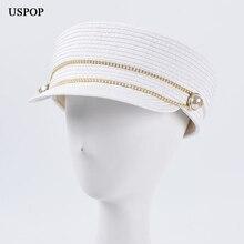 USPOP 2020 Women newsboy caps summer straw military fashion diamond flat visor cap British vintage octagonal hat