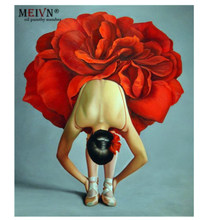 Meivn Frame Diy Oil Painting By Number Rose flower girl Acrylic Paint By Number Kit Canvas Painting Wall Art For Home Decor Gift(China)
