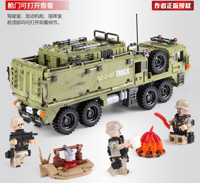 1377Pcs XINGBAO Building Blocks Toys легоe military 06014 Cross The Battlefield Series Bricks Truck Model Gift for Children 4PX 16