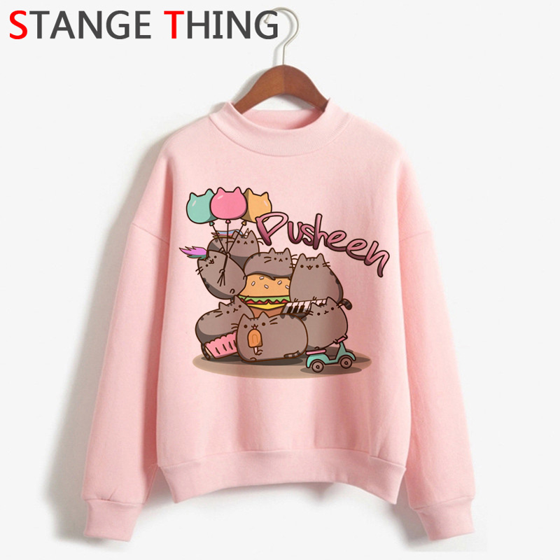 Kawaii Pusheen Cats Harajuku 90s Hoodie Women Turtleneck Warm Cute Graphic Ullzang Sweatshirt Fashion Funny Cartoon Hoody Female