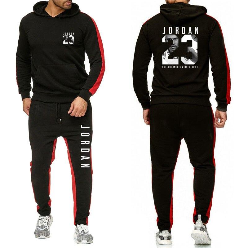 New Tracksuit Men's Hoodie Set Against Sportswear Set Wool Sweatshirt Set 23 Print Striped Track Pants 2 Piece Set