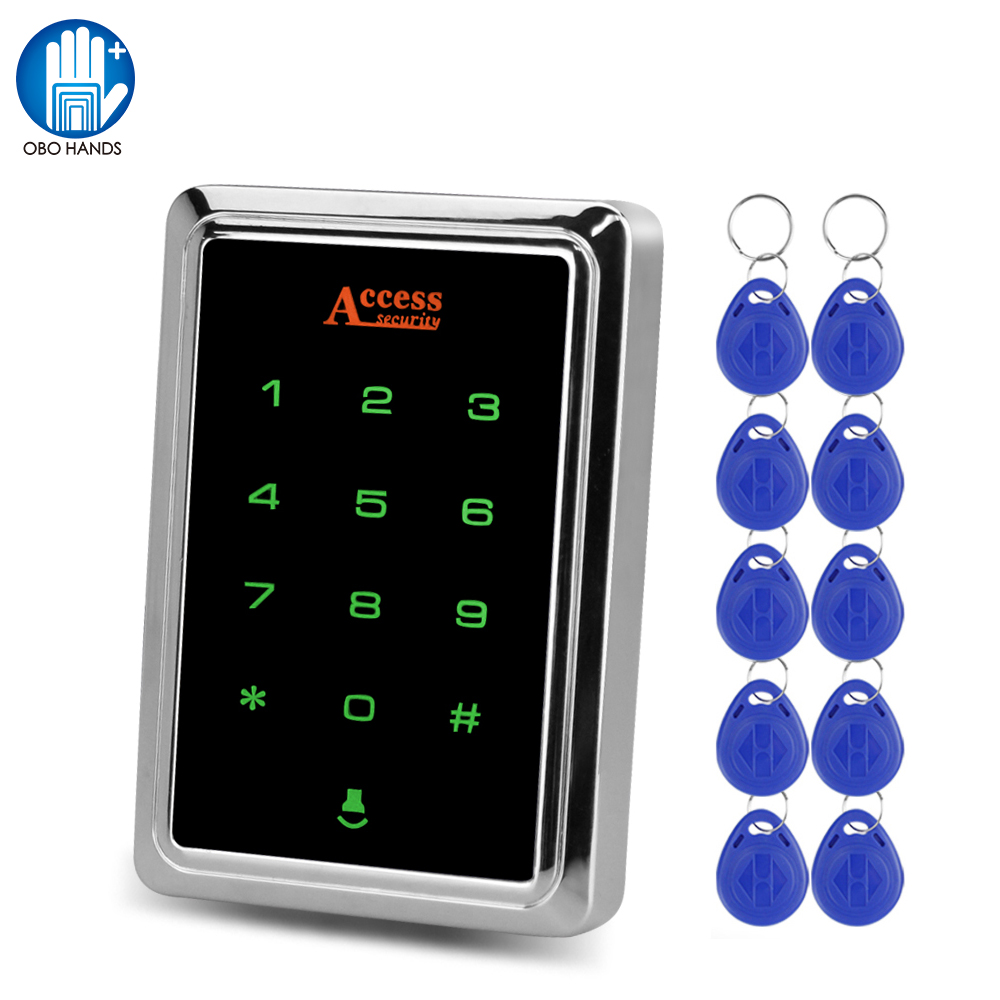 IP65 Waterproof Access Control System Outdoor RFID Keypad Metal Touch EM Card Reader Keyboard Access Controller + 10 Keyfobs Tag