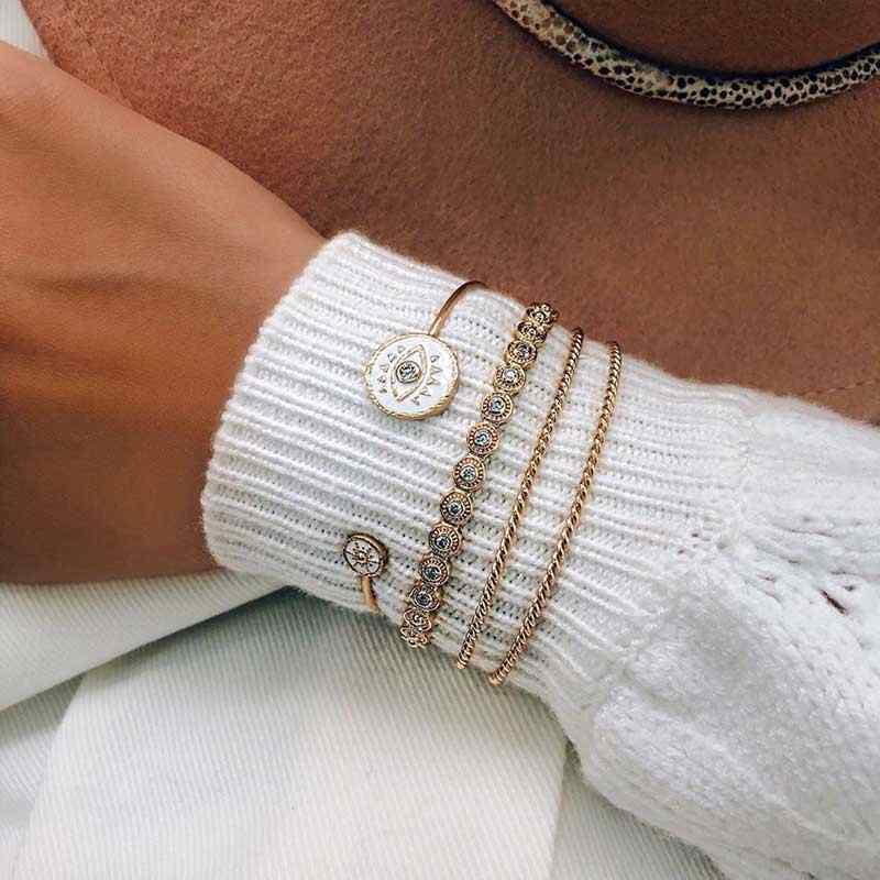2020 חדש בציר פתוח צמיד אמייל שחור לבן עין רעה זהב צמידי צמידים לנשים אופנה נשי צמיד תכשיטים