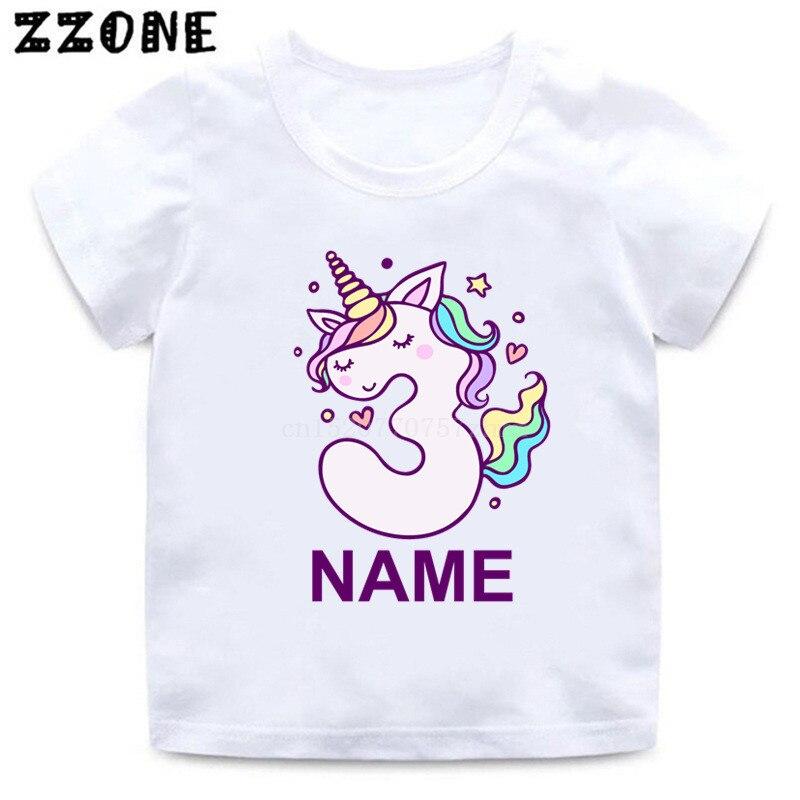 Футболка на день рождения с именем на заказ, номер 1-10, милая мультяшная футболка для девочек с единорогом, детские топы, детская одежда, пода...