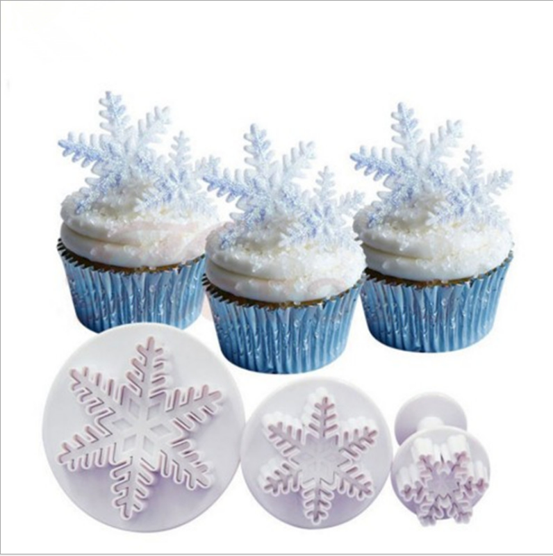 Christmas snowflake cookies biscuit mold fondant sugarcraft plunger cookie cutters Xams Snow cupcake cake decorating tool