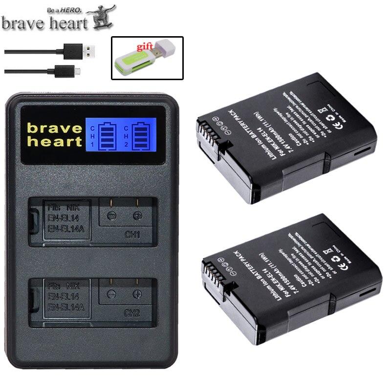2x bateria EN-EL14 EN EL14 EL14A battery ENEL14 for Nikon COOLPIX P7000 P7100 P7700 P7800 D3100 D3200 D3300 D5100 D5200 camera